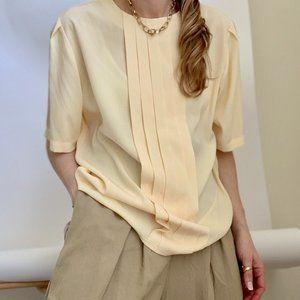 Vintage Tops - Vintage Butter Pleated Oversized Blouse Tee